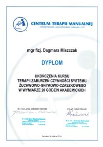 Dyplom - Terapia zaburzeń czynności systemu Żuchwowo - Gnykowo - Czaszkowego
