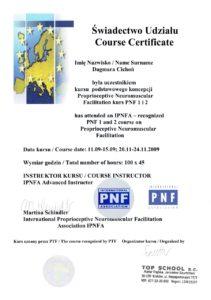 Certyfikat - Proprioceptywna Nerwowo-Mięśniowa Facilitacja II