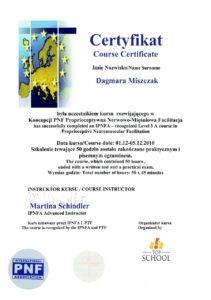 Certyfikat - Proprioceptywna Nerwowo-Mięśniowa Facilitacja