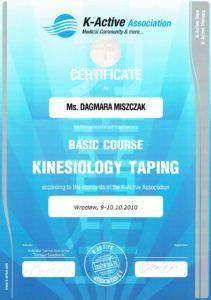 certyfikat - kinezologia