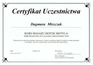 Certyfikat ukończenia kursu - Kurs masażu Dotyk Motyla