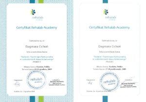 Certyfikat - badanie i fizjoterapia w uszkodzeniach stawu kolanowego